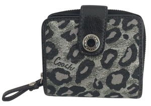 Coach OCELOT LEOPARD WALLET MEDIUM SNAP ZIP AROUND