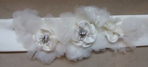 Sophia & Camilla Ivory Satin Bridal Belt With Organza Flowers And Rhinestone Accents