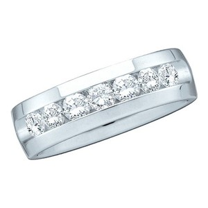 Men's Luxury Designer 14k White Gold 0.50 Cttw Round Diamond Accu Set Fashion Ring Wedding Band