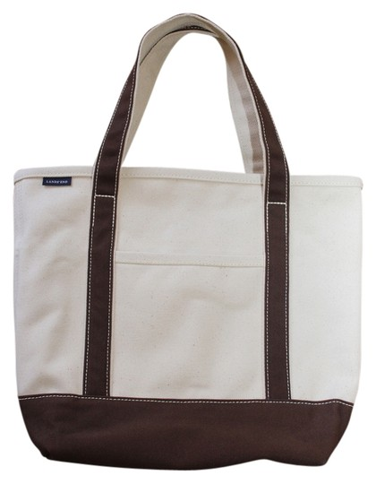 Lands' End Tote in Natural and Brown