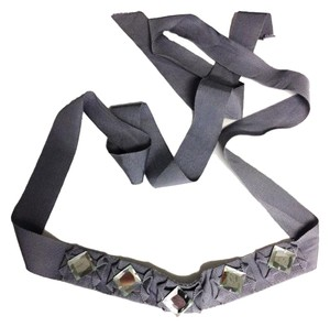 J.Crew J Crew Grosgrain Rhinestone Ribbon Grey Tie Around Belt - One Size Fits All