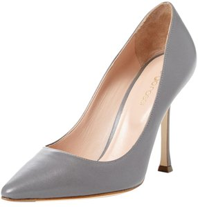 Sergio Rossi Leather Pointed Toe Grey Pumps