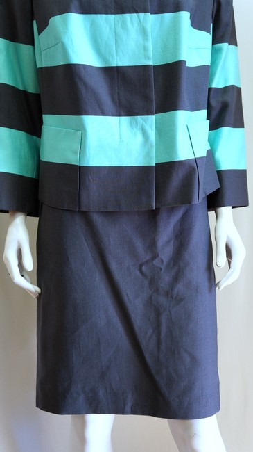 Akris Punto NEW AKRIS PUNTO STRIPED NAVY POOL 2 PIECE SUIT JACKET BLAZER STRAIGHT SKIRT 14