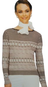 St. John Spring Cocoa Bright White Brown 2 Piece Santana Pants Medium Sweater