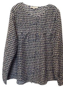Ann Taylor LOFT Silk Xl Light Oversized Top Off-white, blue and teal