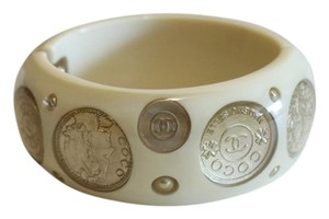 Chanel Beige and Gold Coin Hinged Bangle Bracelet