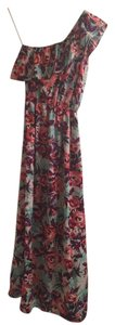 Pink Purple Green Maxi Dress by Gianni Bini Floral Maxi One-shoulder