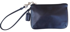 Coach Coin Purse Leather Wristlet in Black