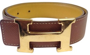 Hermès Hermes #7216 32 Mm Gold Polished H Belt size 60 Yellow on Brown Reversible Belt