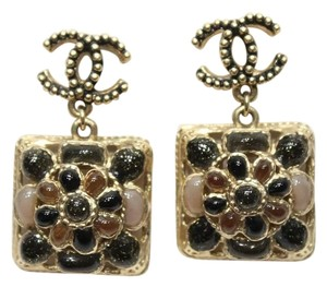 Chanel CC Flower Gripoix Drop Earrings