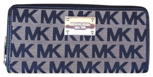 Michael Kors Michael Kors Black and Tan Signature Canvas Zip Around Wallet