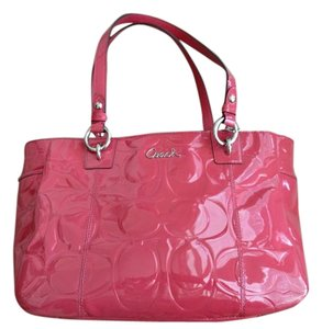Coach Patent Leather Tote in Coral