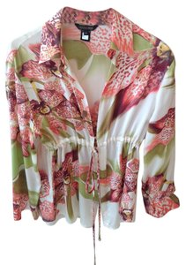 Roberto Cavalli Top Cream/Pink/Green floral