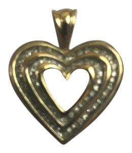 Heart Shaped Yellow gold and diamond pendant