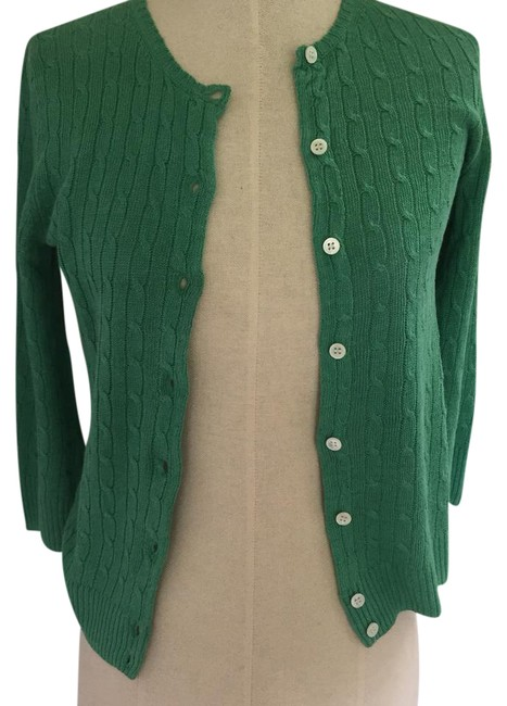 Jew Green Cable Knit Sweater Cardigan Size 4 S Tradesy