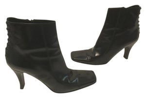 Via Spiga Square Toe Italian Black patent all leather ankle Boots