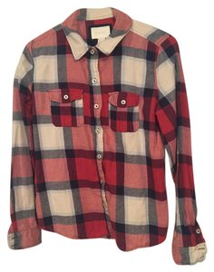 Forever 21 Flannel Button Down Shirt Red/White/Blue
