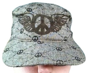 Urban Look Womens Hat With Peace Symbols Brown Earthy Cool