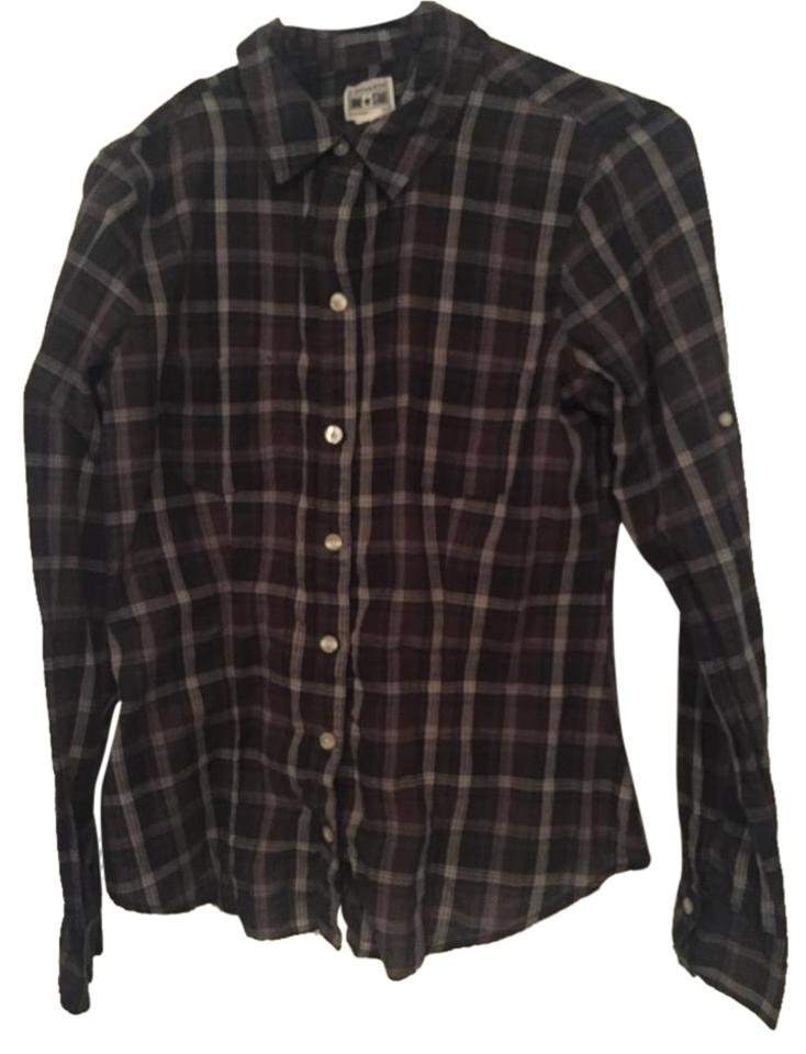 Converse Forest Green Navy Blue Plaid Shirt Button Down Shirt
