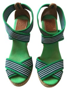 Tory Burch Wedge Navy Blue and Green Wedges