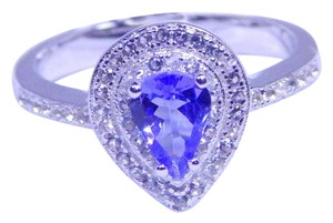Tanzanite PEAR SHAPE TANZANITE RING WITH WHITE TOPAZ STONE AROUND