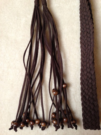 Other Braided Leather Belt with Tassel with Shiny Brown Trim