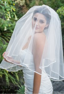 Zveil Satin Ribbon Edged Two Tier Veil