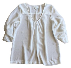 Greylin Summer Spring Sheer Chiffon Roll Sleeve Top White