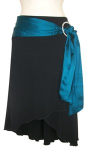 bebe Asymmetrical Faux Wrap Skirt Black