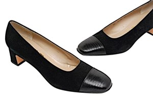 Salvatore Ferragamo Lizard Cap Toe Suede Black Pumps