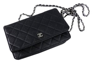 Chanel Caviar Leather Silver Cross Body Bag