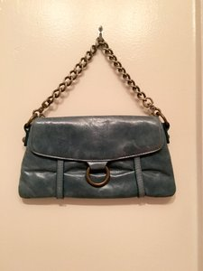 Hobo International Leather Chain Teal Clutch