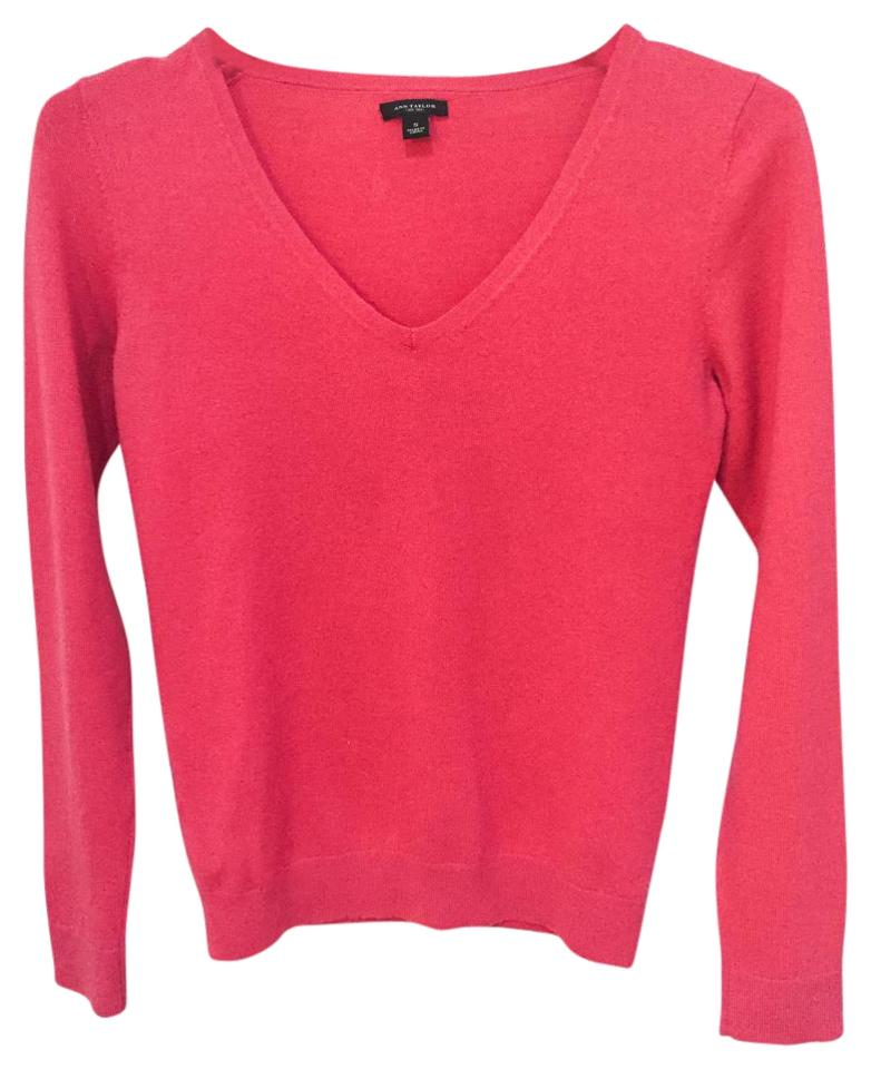 0ac0547c3da Ann Taylor Retail Extra Fine Merino Wool V-neck Bright Dark Pink Sweater  71% off retail