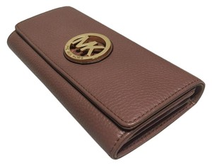 Michael Kors Michael Kors Fulton Flap Leather Clutch Wallet Dusty Rose Leather