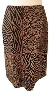 Escada Pencil Calf Hair Zebra Print Leopard Print Skirt Browns