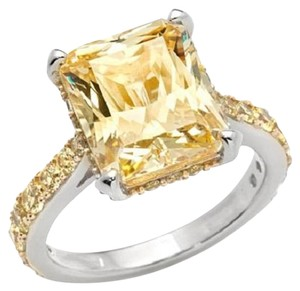 Jean Dousset Jean Dousset 7.08ct Absolute Emerald-Cut Canary Sterling Silver Ring - Size 6