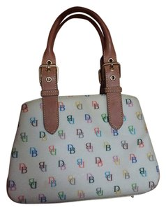 Dooney & Bourke & Coated Cotton Satchel in White Multicolor