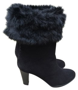 Aquatalia by Marvin K. Suede Made In Italy Real Fur Black Boots