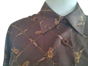 St. John Button Down Shirt Brown
