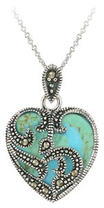 Other 925 Sterling Silver Marcasite & Turquoise Heart Necklace