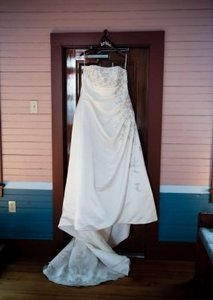 David's Bridal Ivory Satin A-line Drape Strapless Gown 18w Style 9v9665 Traditional Wedding Dress Size 18 (XL, Plus 0x)