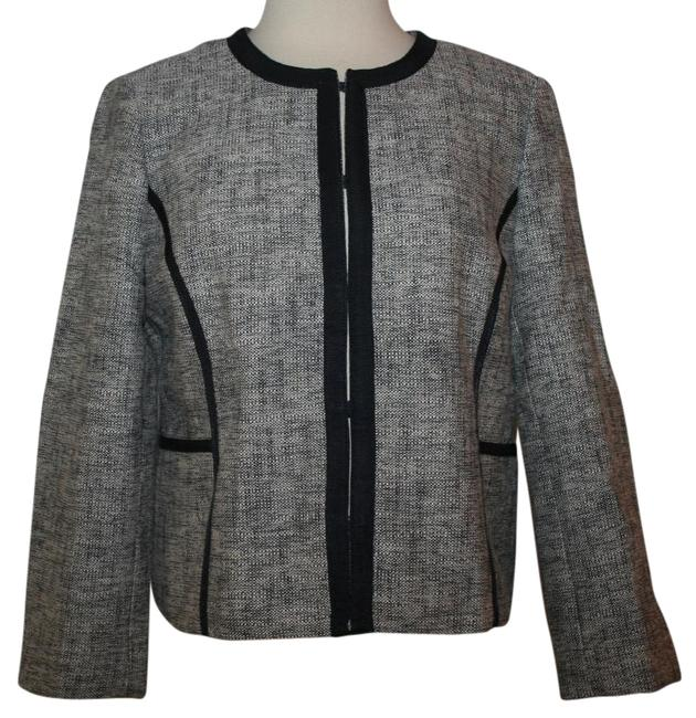 J.Crew Navy Charcoal Collarless Contrast In P12 Jacket Size Petite 12 (L) J.Crew Navy Charcoal Collarless Contrast In P12 Jacket Size Petite 12 (L) Image 1