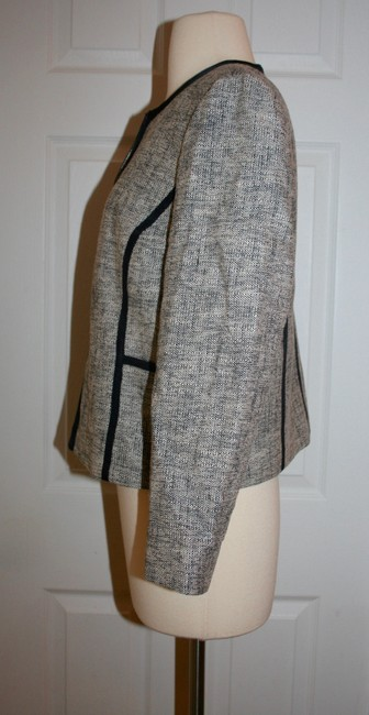 J.Crew Navy Charcoal Collarless Contrast In P12 Jacket Size Petite 12 (L) J.Crew Navy Charcoal Collarless Contrast In P12 Jacket Size Petite 12 (L) Image 2