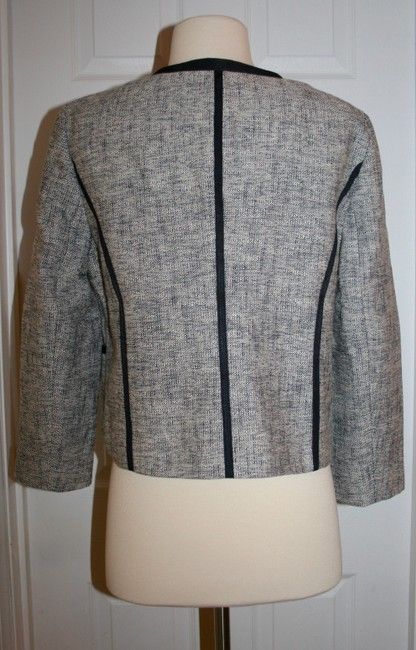 J.Crew Navy Charcoal Collarless Contrast In P12 Jacket Size Petite 12 (L) J.Crew Navy Charcoal Collarless Contrast In P12 Jacket Size Petite 12 (L) Image 4