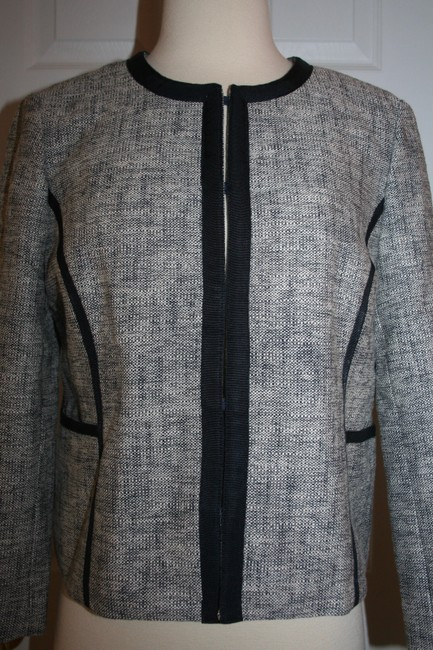 J.Crew Navy Charcoal Collarless Contrast In P12 Jacket Size Petite 12 (L) J.Crew Navy Charcoal Collarless Contrast In P12 Jacket Size Petite 12 (L) Image 5