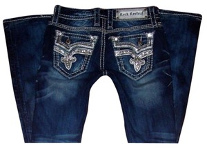Rock Revival Denim Sequin Western Embroidered Boot Cut Jeans-Medium Wash