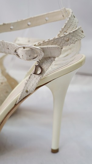 Dior Christian Leather Reptile Embossed Heeled Ivory Sandals