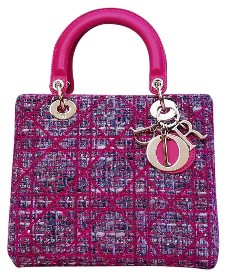 Dior Lady Dior Limited Edition Multi Color Tweed and Lambskin Tote ... 98489d7175074