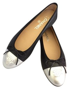 Chanel Ballet Black Silver Flats