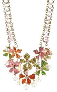 Betsey Johnson Betsey Johnson Flower Boost Crystal Flower Statement Bib Necklace NWT $145